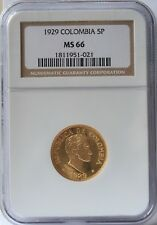 1929 Colombia Gold 5 Peso NGC MS66.  Rare grade & Great Luster.