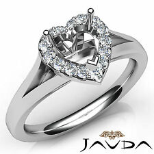 Heart Diamond Semi Mount Engagement 18k White Gold Halo Pave Setting Ring 0.2Ct