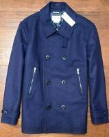 Lacoste Men's $395 Navy Blue Double Breasted Wool Blend Peacoat Jacket L EU 52