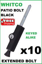 3x BLACK WHITCO PATIO BOLT LOCKABLE SLIDING DOOR LOCK ENTENDED BOLT W2207517C4