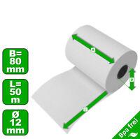 100 Thermo-Kassenrollen 80//50//12-48g//m² Thermorollen 80mm x 50m x 12mm