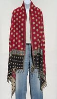 Yak Wool Blend|Shawl/Throw|Handloomed|Nepal|Polka Dot Design|Reversible|Red