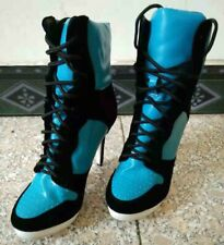 Women's Pointy Toe Lace Ups Stilettos Heel High Top Ankle Boots Sneaker Pattern
