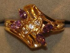 12 Ladies 18KT. Gold Overlay Marquis Amethyst Rings in Sizes 8, 9 & 10 (NP)