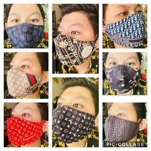 Face Mask Luxury Printed Design Reusable Washable With Filter Pocket -1PC- NEW