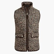 NWT JCREW FACTORY LEOPARD PRINTED PUFFER VEST WITH BROWN TRIM SZ M