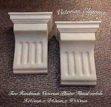 2 X Victorian Handmade Plaster Fluted Corbels- H165mm X D65mm X W130mm