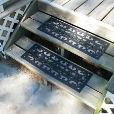 Rubber Stair Treads Set Outdoor Wood Floors Steps Non Skid Slip Mats Pads  Black