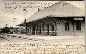 Homer, ND Postcard - Lackawanna R.R. Depot - Train Station - Posted