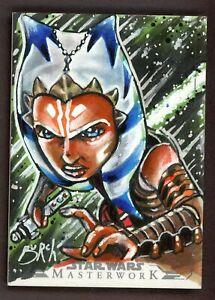 2015 Star Wars Masterwork Sketch Card AHSOKA TANO STEVEN BURCH AP PROOF 1/1