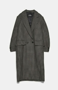 Zara AW 2019/20 Checked Masculine Coat RRP £79 Free P&P Brand New