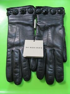 NWT BURBERRY Black Leather Gloves 100% Lambskin/Cashmere Sz.7