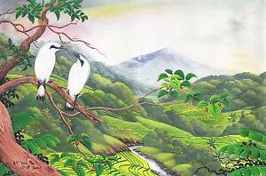 Hand painting Balinese Starling Birds 324