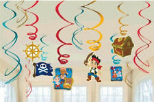 JAKE & NEVERLAND PIRATES birthday party hanging swirl decoration with foil 12pcs