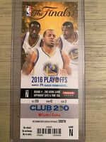 2016 NBA Finals Golden State Warriors vs Cleveland Cavs Game 2 Ticket Stub