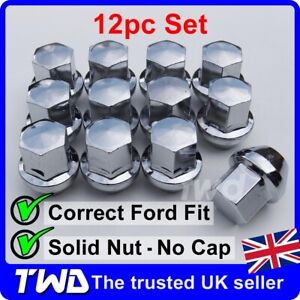 12x WHEEL NUTS - FORD FIESTA CHROME ALLOY MK4 MK5 MK6 MK7 MK8 (M12x1.5) [12N]