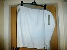 BNWT NEXT LINEN MIX LINED SHORT SKIRT WHITE WITH TAUPE TRIM SIZE 24