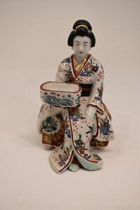 Antique Kutani Imari Figure Geisha Bijin on Bench Meiji Period