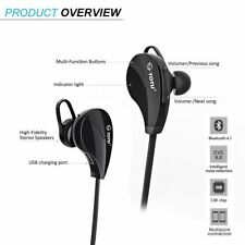 Wireless Bluetooth Noise Isolating Sports Headset earbuds w/ mic iPhone Android