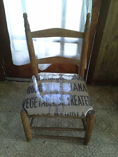 Country vintage short shaker ladderback chair with handmade seat of Burlap bag