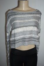 NWT HOLLISTER GILLY HICKS WOMENS SILVER & GREY STRIPE CROPPED SWEATER TOP MEDIUM