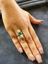 Women's Antique Edwardian Colombian Emerald & White CZ Three-Stone Cocktail Ring