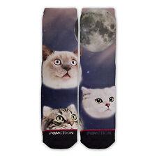 Function - Three Cats Meowing at Moon Sublimated Sock cat socks mens cat socks