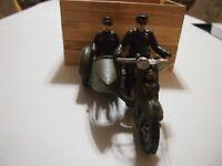 "XONEX 1928 HARLEY-DAVIDSON CAST IRON Military motorcycle driver and rider 9"" Lg"