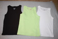 f588fbd54 Toddler Girls 3 LOT RIBBED TANK TOPS Solid Color BLACK, LIME GREEN, WHITE Sz
