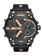 Diesel Mr Daddy Dz7350 Chronograph Four Time Zone Dial Black Leather Men's Watch