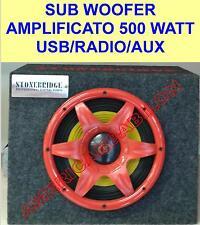 SUB WOOFER AMPLIFICATO ATTIVO 500 WATT USB-RADIO-AUX-BOX 20 CM MDF