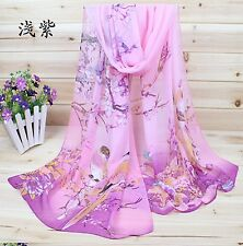 Pink Ladies Chiffon Fashion Scarf Beautiful Birds Theme Birthday Wedding Gift