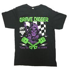Monster Jam Grave Digger Monster Truck All Access T Shirt Black Green Neon Small
