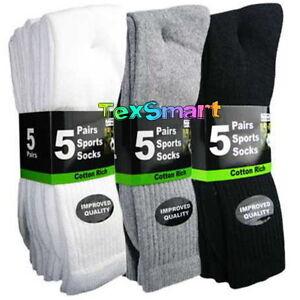 10/20 Pairs Mens Cotton Rich Cushion Sole Sport Socks Shoe Size 6-11 Black White