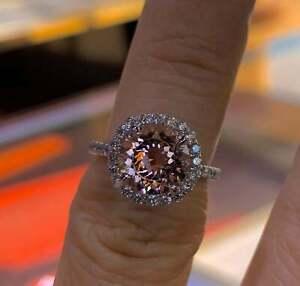 9mm Round Cut Morganite Diamond Wedding Promise Engagement Ring 14K Rose Gold