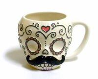Sugar Skull Mustache Mug 12 oz Coffee Tea Cup Day of the Dead Calavera Halloween