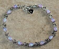 Silver Elegant Purple Fire Opal Teardrop Bracelet Jewelry Woman Gift