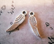10 Angel Wing Charms Antique Silver Tone 2 Sided Tiny Angel Wings 17mm