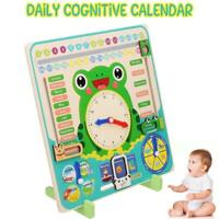 Wooden Calendar Clock Educational Weather Season Toy Clock Learning Kid Children