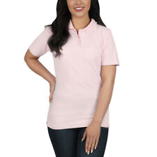 Ladies Polo Shirt Short Sleeve Womens Plain Pique Classic Top T Shirt Lot 10 - 12 Pink 1 Shirt
