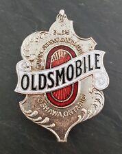 RARE 1920's Oldsmobile Canada Car Emblem/Badge Brass Era Porcelain/Enamel Crest