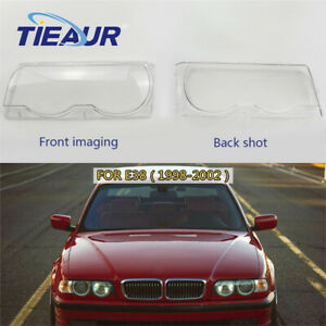 One Pair Headlight Clear Lens Cover headlamp shell For BMW 7Series E38 1998-2002