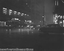 1956 B&W Photo Reprint 8.5x11 Des Moines Iowa Downtown At Night Curbliner Cars