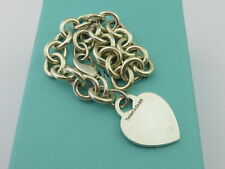 TIFFANY & CO Sterling Silver Heart Tag Chain Link Bracelet
