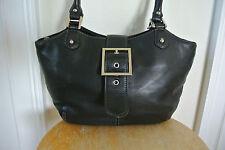 Tignanello Shoulder Bag Genuine Leather Black Bucket Purse EUC