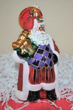 NEW Christopher RADKO Xmas Glass Ornament  MAJESTIC NICHOLAS w/Gift Bejeweled L