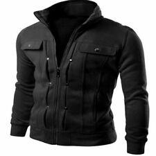 Men's Slim Stand Collar Coat Military Jacket Winter Outwear Tops black