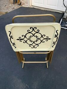 Vtg Set 4 Mid-Century Modern CAL-DAK Metal TV Trays with Stand