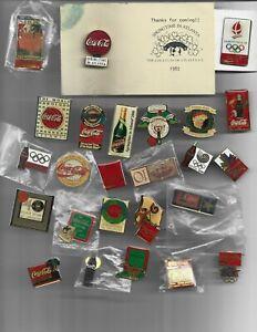 25 ASSORTED HAT OR LAPEL PINS, OLYMPICS, COCA-COLA, SUPER BOWL C.C. COLLECTORS C