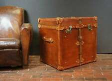Handmade Large Bridle Leather Side Table Trunk In London Tan Decor Trunk